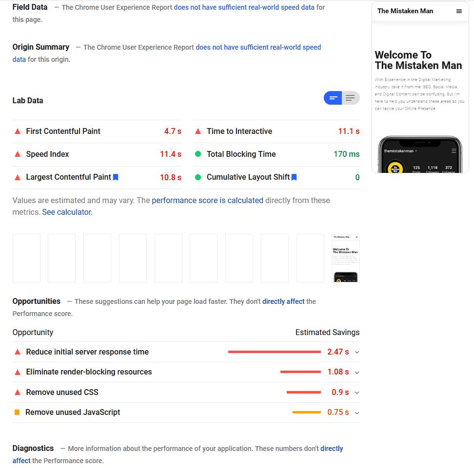The Mistaken Man Page Speed Score