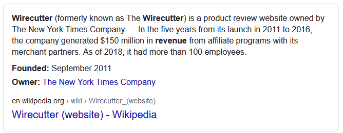 Wirecutter revenue details 2020 google snippet