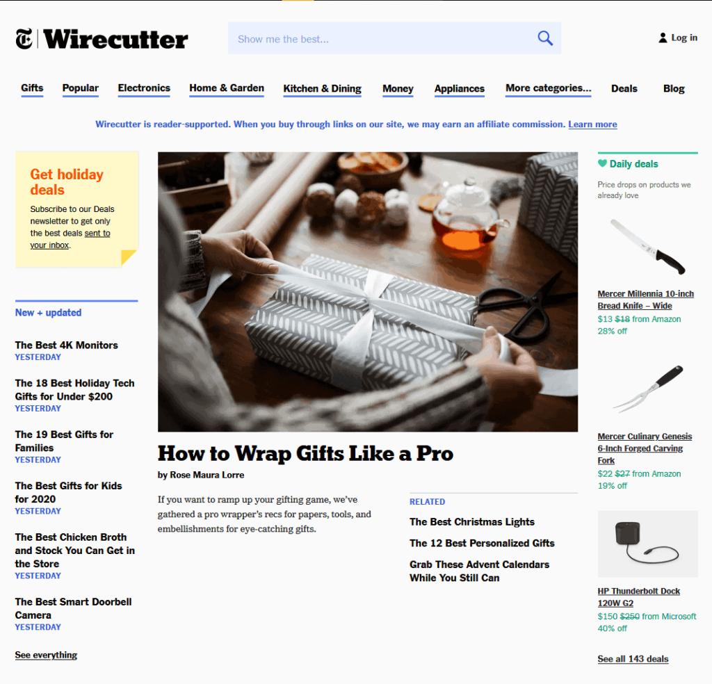 The Wirecutter Blog screenshot