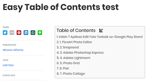easy table of contents plugin for wordpress blog