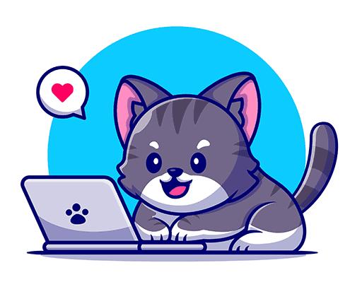 cat writing a blog post