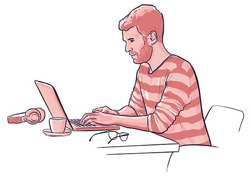 a man writing a blog post