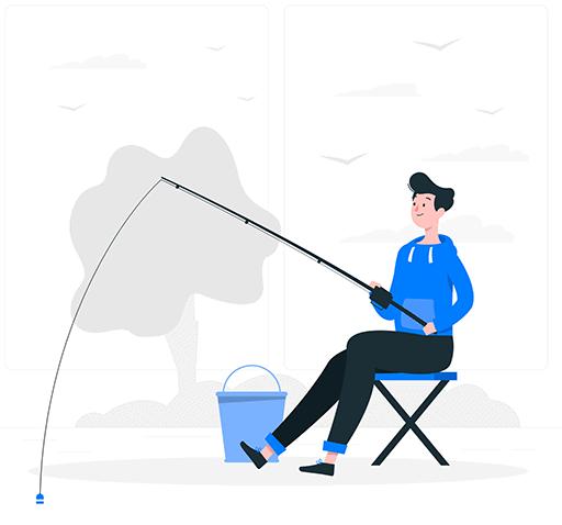 man fishing through a hook